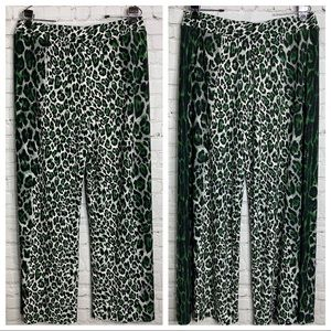 Cato Leopard Print Wide Leg Pant Green Black White